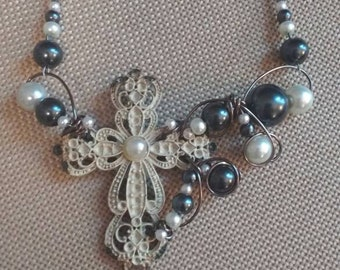 Shabby Chic cross necklace