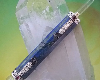 Very Large 7 Inch LAPIS LAZULI Silver Om Sacred Symbol  WAND with Crystal Point and Ruby Garnet, Reiki