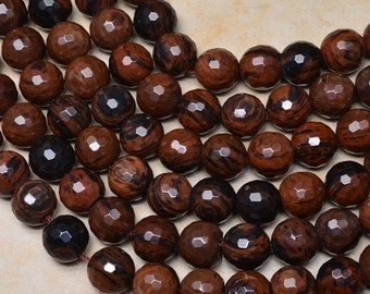 """Natural Mahogany Obsidian 14 mm faceted round bead 15"""" strand (#J1101)"""