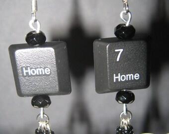 Techie keys tassel earrings/upcycled keyboard keys earrings
