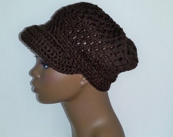 Crochet Newsboy Hat, Chocolate Brown Newsboy Hat, Women's Winter Hat, Crochet Hat with Visor, Brown Newsboy Cap, Brown Winter Hat,