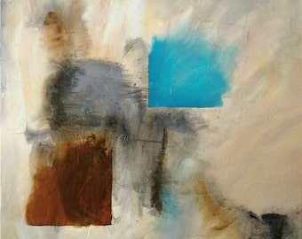 Large Abstract Acrylic Painting Brown Painting Grey Painting Aqua Painting Modern Art Contemporary Art