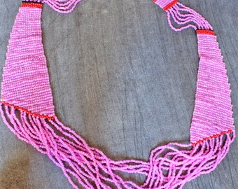 Bead Necklace, Handmade Loom Woven Bead Necklace - Pink Necklace -OOAK - Totally Pink - Ideal Gift