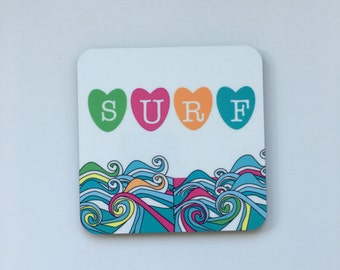 Surf heart Coaster. Designed by Katie Cheetham