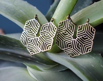 brass earrings // geometric earrings // brass jewelry // UK