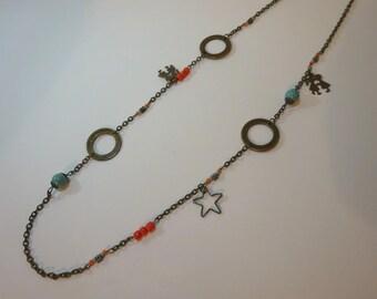 Nunki - Bronze orange and light blue long necklace