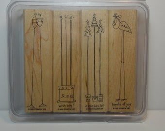 Stampin' Up! ALONG the SAME LINES, Used Set of 4 Wood Mounted Rubber Stamps - Christmas, Birthday, New Baby, Celebration