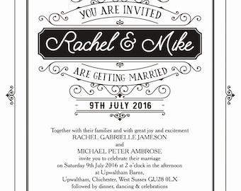Personalised White and Black Elegant Vintage Wedding Invitation with envelope