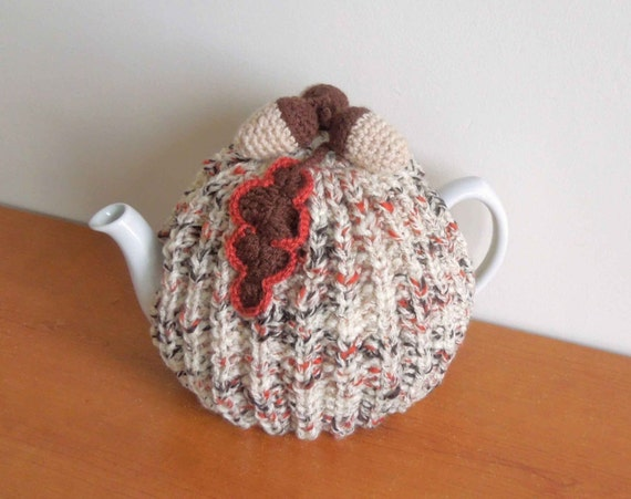 Novelty Tea Cosy Knitting Patterns : Hand made autumn knitted tea cosy for your teapot with acorns