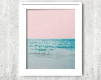 Beach Photography, Instant Download, Ocean Waves, Beach Photo, Printable Wall Art, pink sky, blue sea
