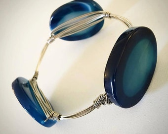 Wire Wrapped Blue Agate Stone Bangle