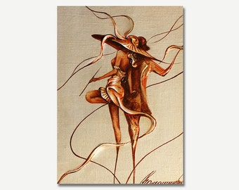Dancers Oil Painting Gold Modern Painting Oil on Canvas Pallet Knife Original Art Wall Art Painting