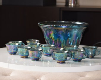 Vintage Indiana Glass Blue Carnival Glass Harvest Grape Punch Set - Bowl and Cups