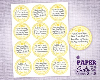 You are my Sunshine Party Thank You Labels, Round Sunshine Favor Bag Labels, Personalized Sunshine Party Labels, Sunshine Thank You Stickers