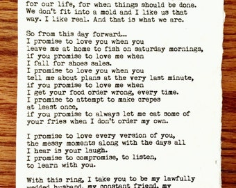 Wedding Vow Typewriter Print