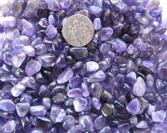 Deep Purple Amethyst Gemstone Pebbles, lot of 100 tiny tumble polished loose stone chips for gem trees, natural craft, charms, pocket pieces