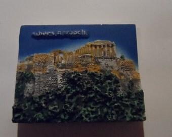 Athens Acropolis Vintage Souvenir 3D Plaster Fridge Magnet