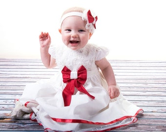 christmas newborn dress-christmas baby dress-red trim christmas dress-wedding baby dress