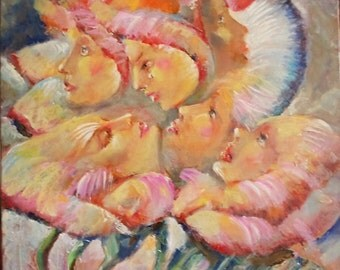 portrait - oil painting - canvas art - expressionism - surrealism - figurative art -  smile - original art - woman - impressionism - uniques