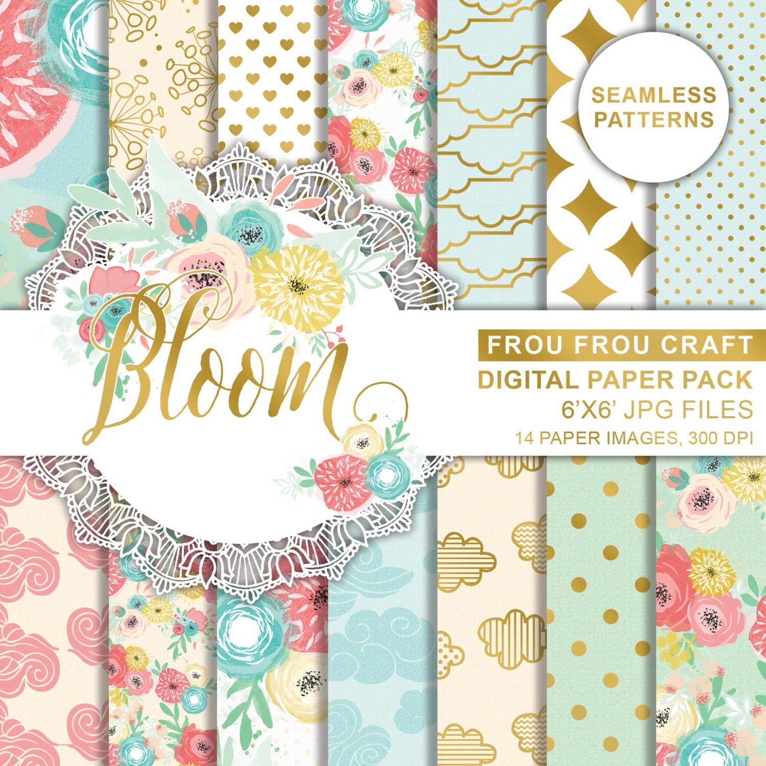 Scrapbook paper clouds - Spring Flowers Digital Printable Paper Colorful Flowers Paper Green Yellow Scrapbook Paper Pack Floral Pink Roses Paper Polka Dots Paper