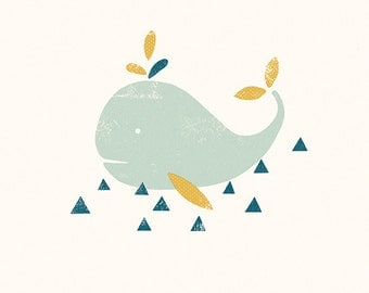 SALE! Whale illustration / Ocean Animal Art Print / Minimalist Nursery Decor