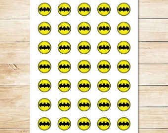 Batman Sticker // Batman Inchies // Batman Party Favors // Batman Party Supplies // Batman Logo // Superhero - 1 inch Circles
