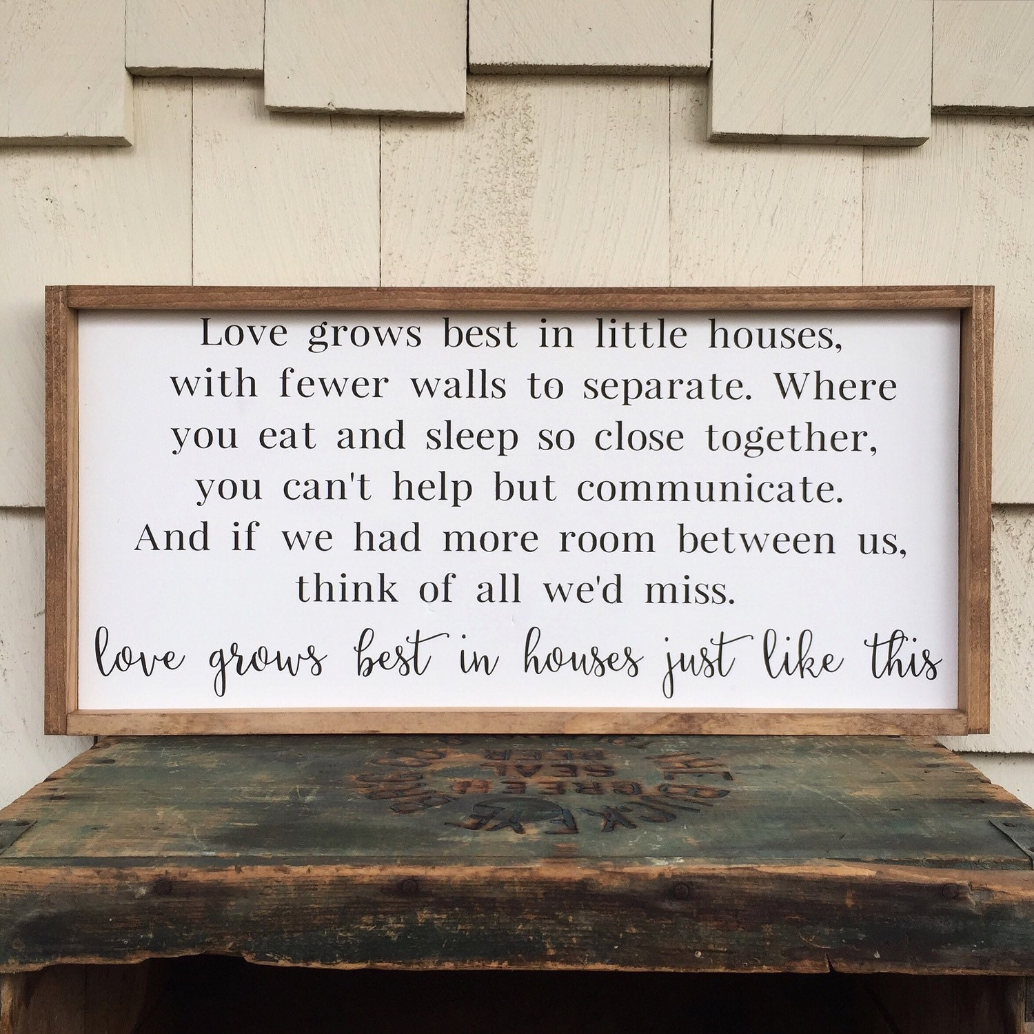 Download Love Grows Best in Little Houses Framed Wood Sign Houses Just