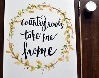 Items Similar To Take Me Home Country Roads 16x20
