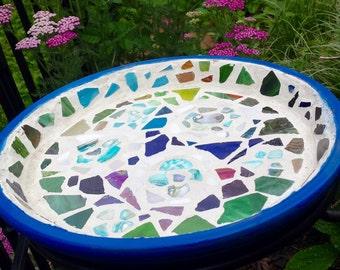 Cosmos Sea Glass Mosaic Birdbath