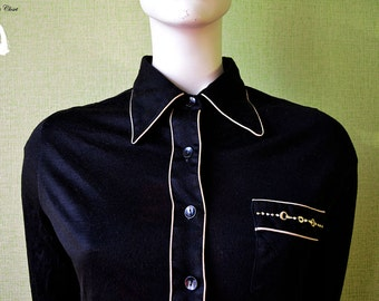 Vintage black blouse with yellow decorations, very long sleeves, classic blouse, women's blouse, girl's blouse, classy shirt