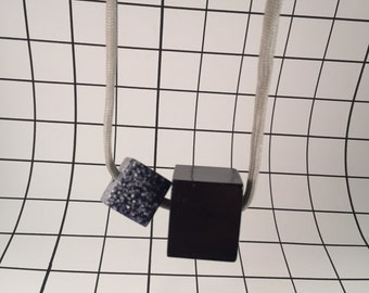 Double Cube Resin Necklace