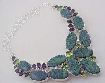 Rainbow Calsilica-Amethyst-Peridot Stone .925 Silver handmade Necklace Jewelery (Jh-82)