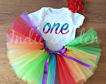 Baby girls 1st Birthday tutu headband babysuit birthday glitter rainbow personalised one set photo prop cake smash