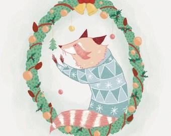 Blue Raccoons Christmas Card