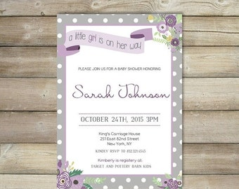 50% OFF SALE Purple Baby Shower Invitation , Lavender Baby Shower Invitation , Floral , Grey , Baby Shower Invite For Girl , Printable