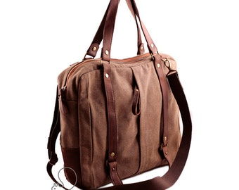 Canvas leather messenger bag, mens messenger, womens messenger, canvas leather bag, crossbody bag, shoulder bag, canvas leather laptop bag