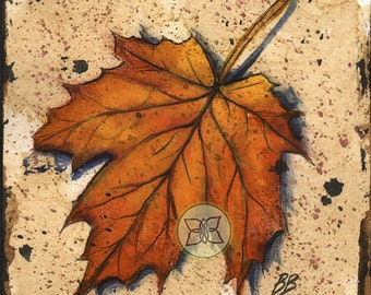 Original Watercolor Maple Leaf - Orange & Brown