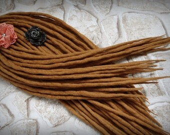 "Wool Dreadlocks Dreads "" Honey Nectar "" DE"