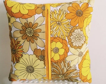 Floral Cushion Cover - Vintage Floral Yellow Retro With Zip Detail