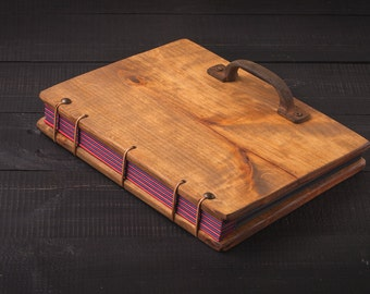 wooden guest book- wedding book- wedding gift , wedding photo album , personalized wooden album