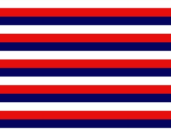 Knit 3 Color Stripes - Navy, Red and White Fabric 1/2 yard