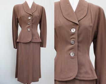 Vintage 1940s 40s Brown Wool Skirt Suit WWII UK 10 small medium Forties