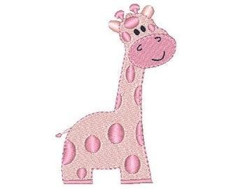 Giraffe Machine Embroidery Design, Baby Giraffe Fill Stitch Machine Embroidery Design, Cute Pink Giraffe, Girl's Embroidery, No: JG00041-2