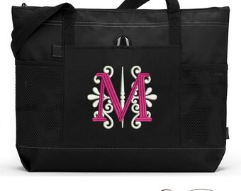 Fancy Monogram Personalized Zippered Tote Bag With Mesh Pockets, Beach Bag, Boating
