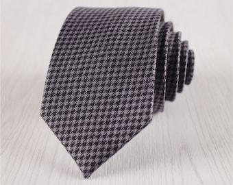 deep gray necktie.plaid silk ties.houndstooth necktie.grid silk ties for men.narrow ties.groomsmen ties.gift boxed ties for weddings+nt286