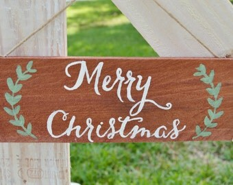 Merry Christmas -Original Hand Painted Winter/Christmas Sign on Reclaimed Pallet Wood in Red or White with Garland