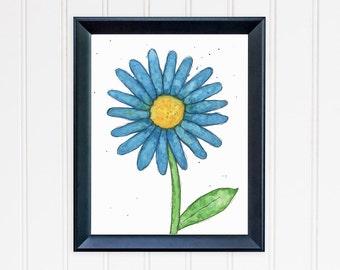 Blue Daisy Art Print. Whimsical Flower Wall Art. Watercolor Art. Daisy Print. Mother's Day. Nursery Wall Art. Gift for Mom. Gift for Her.