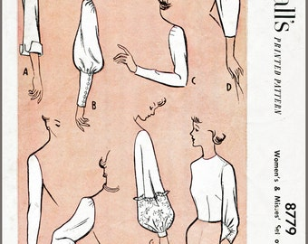 Vintage Sewing Pattern 1950s 50s sleeve set 8 styles bust 34 b34 French and English repro reproduction