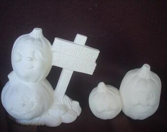 4 Ceramic Bisque 'Pumpkins for Sale' Jack-o-Lanterns - Ready to Paint-E619