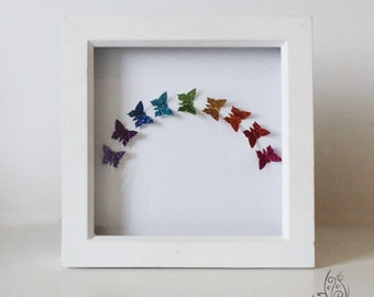 """Butterfly Over The Rainbow Flutter Picture Frame 7x7"""""""
